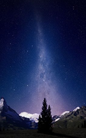 Milky Way Night Sky Mountains HD Mobile Wallpaper