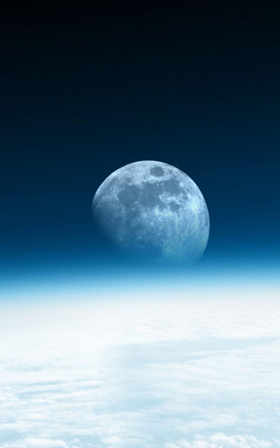 Moon Horizon Blue Space Free 4K Ultra HD Mobile Wallpaper