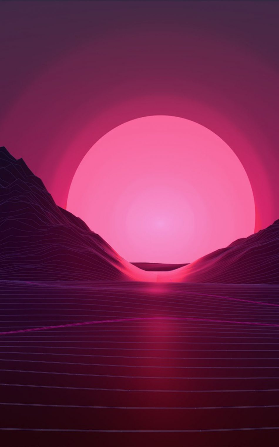 Neon Pink Sunset Artwork HD Mobile Wallpaper