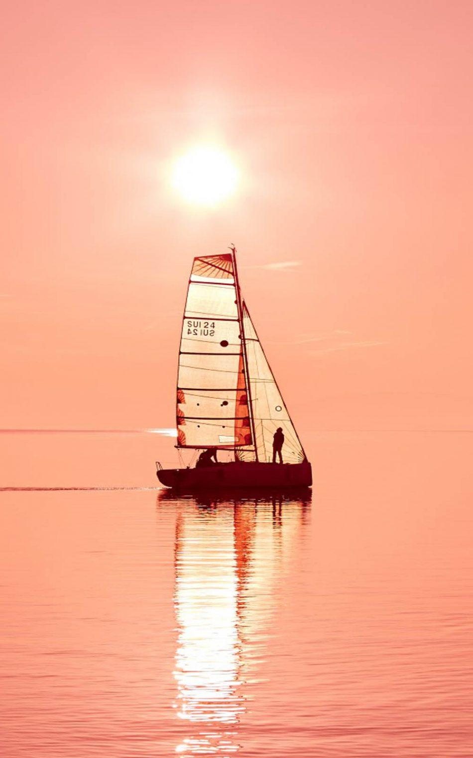 Ocean Sunset Sail Boat HD Mobile Wallpaper