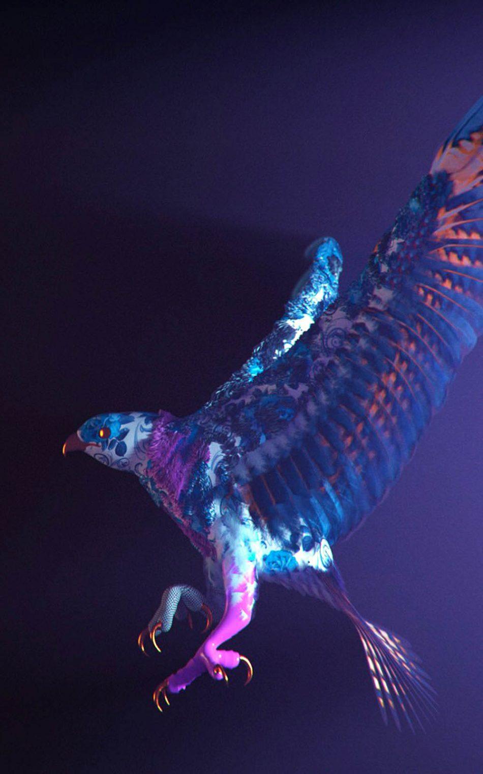 Purple Eagle Bird CGI HD Mobile Wallpaper