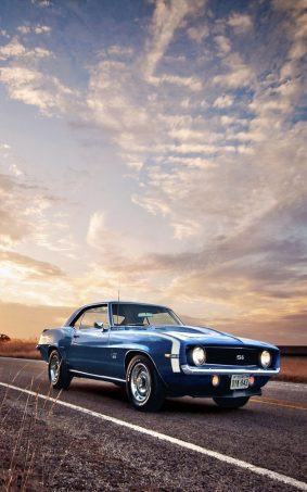 Stunning Classic Blue Car HD Mobile Wallpaper