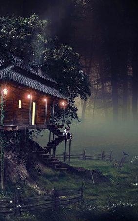 Tree House CGI HD Mobile Wallpaper
