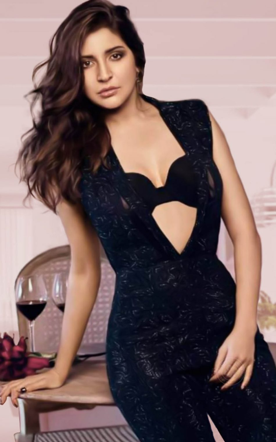 Anushka Sharma In Black Dress HD Mobile Wallpaper