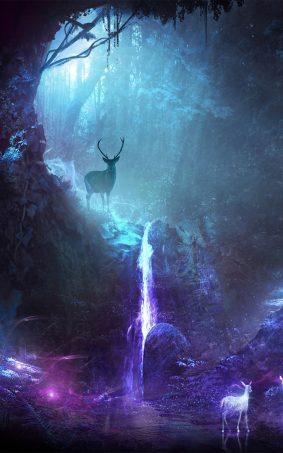 Deers Waterfall Neon CGI HD Mobile Wallpaper