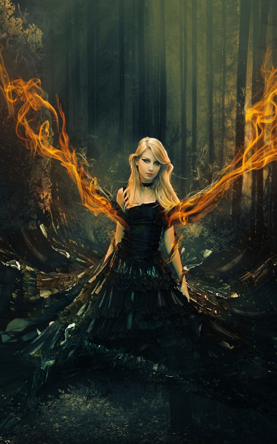 Fantasy Girl Flame Forest Surreal HD Mobile Wallpaper