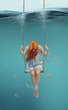 Fantasy Girl Underwater Artwork HD Mobile Wallpaper