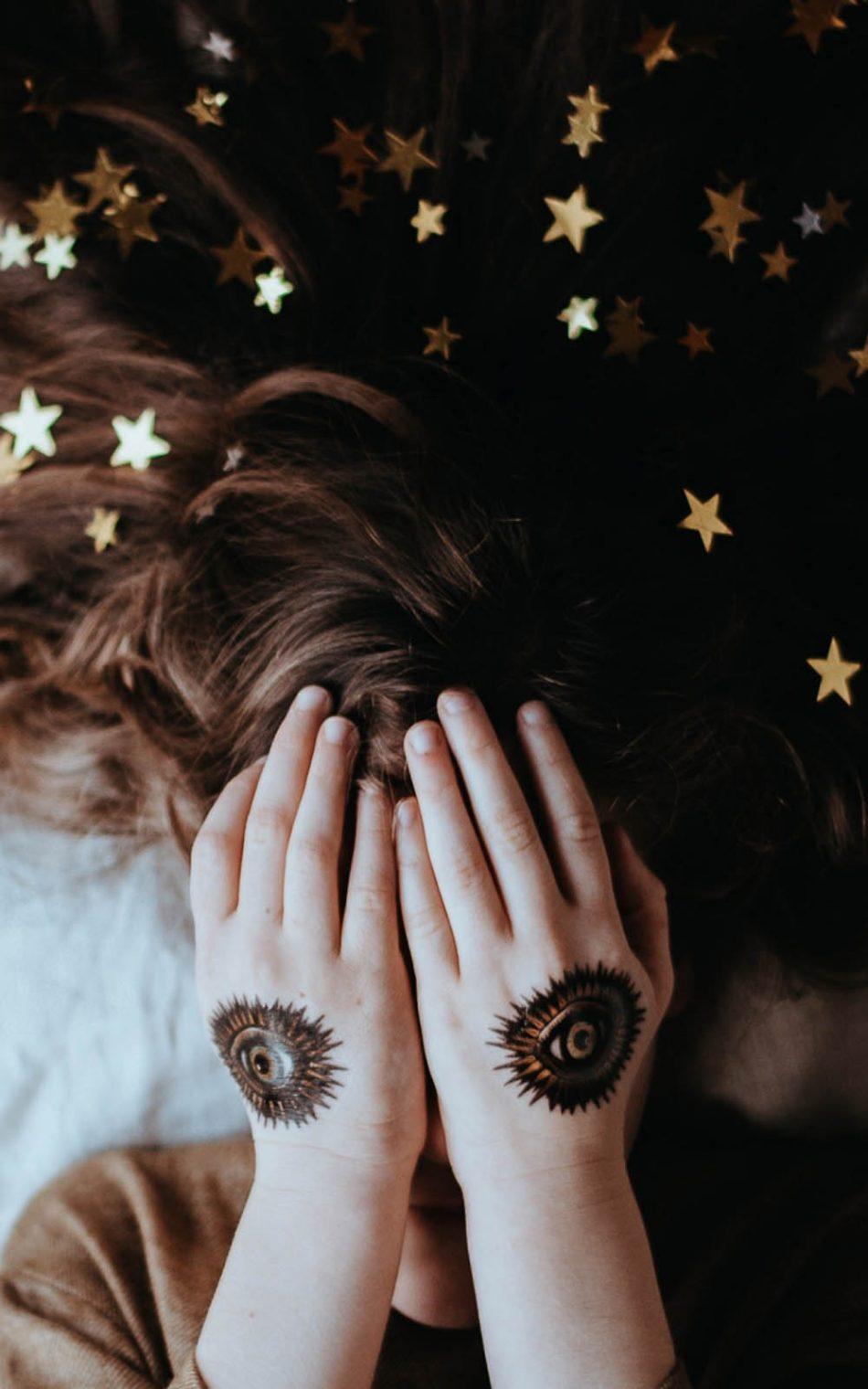 Girl Hand Hair Art Stars HD Mobile Wallpaper