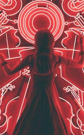 Girl Red Lights Background HD Mobile Wallpaper