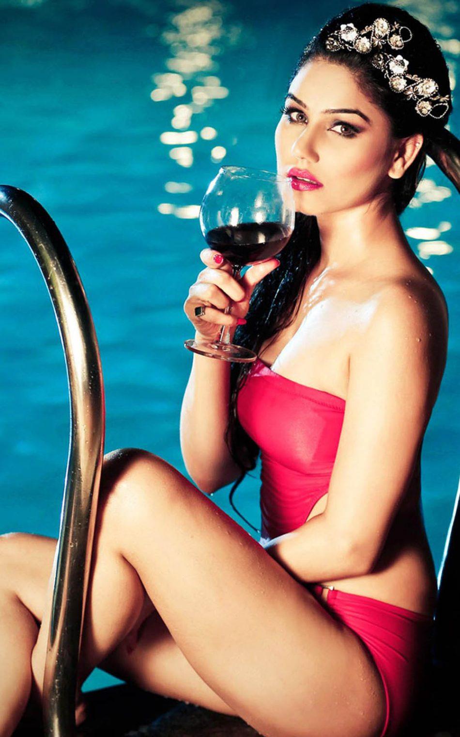 Kangana Sharma In Red Swimming Dress HD Mobile Wallpaper