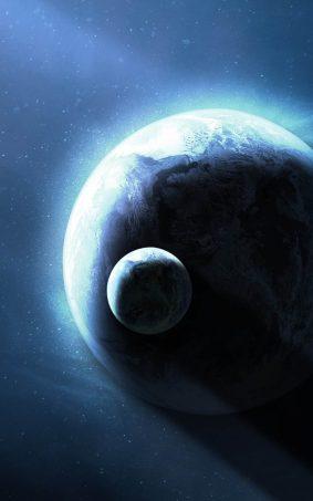 Planet Earth And Moon CGI HD Mobile Wallpaper