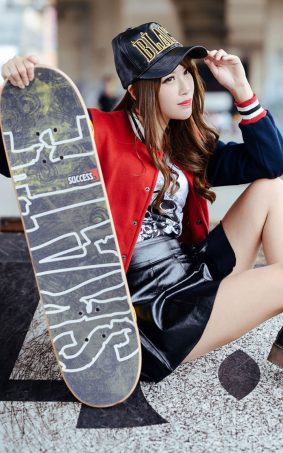 Cute Asian Babe With Skateboard HD Mobile Wallpaper