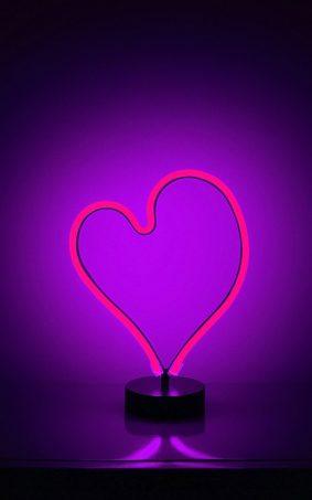 Heart Shape Neon Backlight HD Mobile Wallpaper