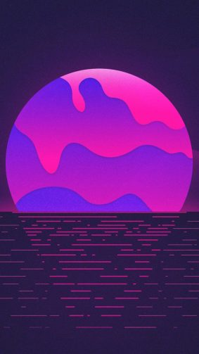Neon Purple Sunset HD Mobile Wallpaper