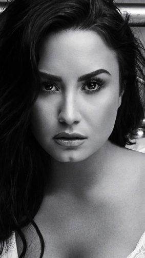 Demi Lovato Hot Black & White Photoshoot HD Mobile Wallpaper