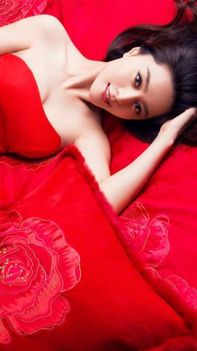 Fan Bingbing In Cute Red Dress HD Mobile Wallpaper