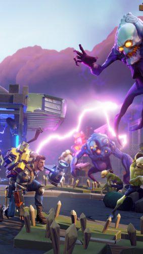 Fortnite Battle Royale Fighting Against Monsters HD Mobile Wallpaper