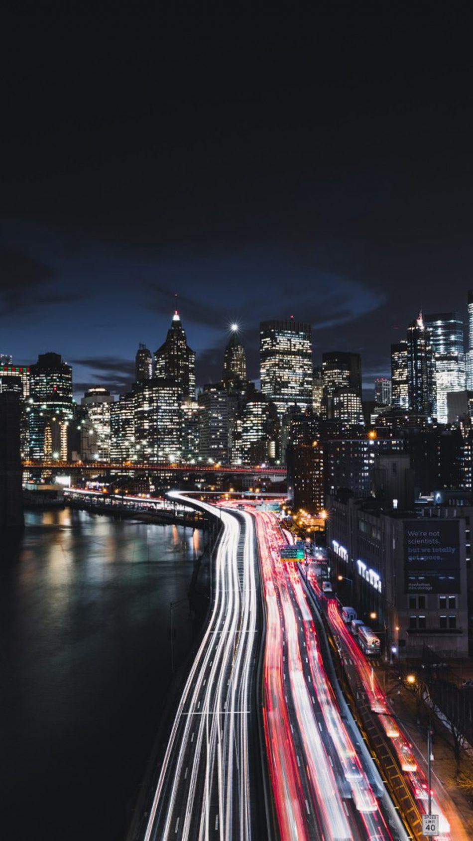 Manhattan New York City Cityscape Night Traffic HD Mobile Wallpaper