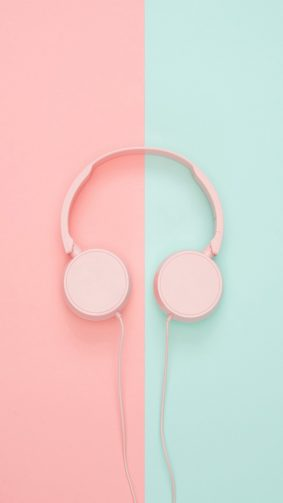 Pink Teal Headphones HD Mobile Wallpaper