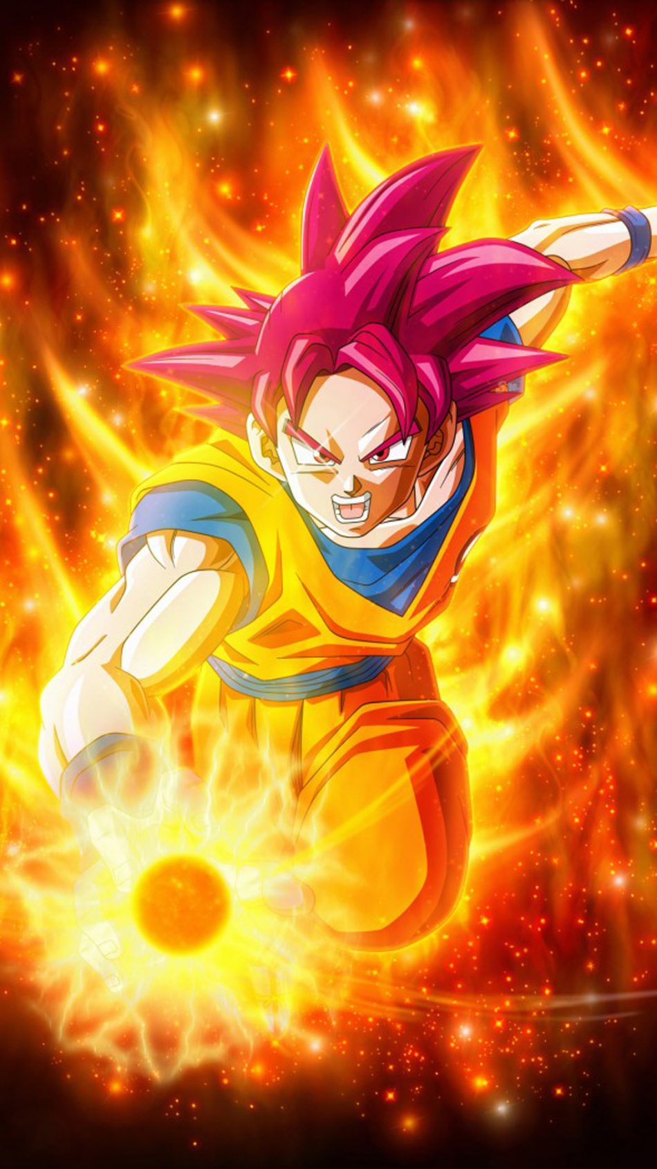Super Saiyan God In Dragon Ball Super HD Mobile Wallpaper