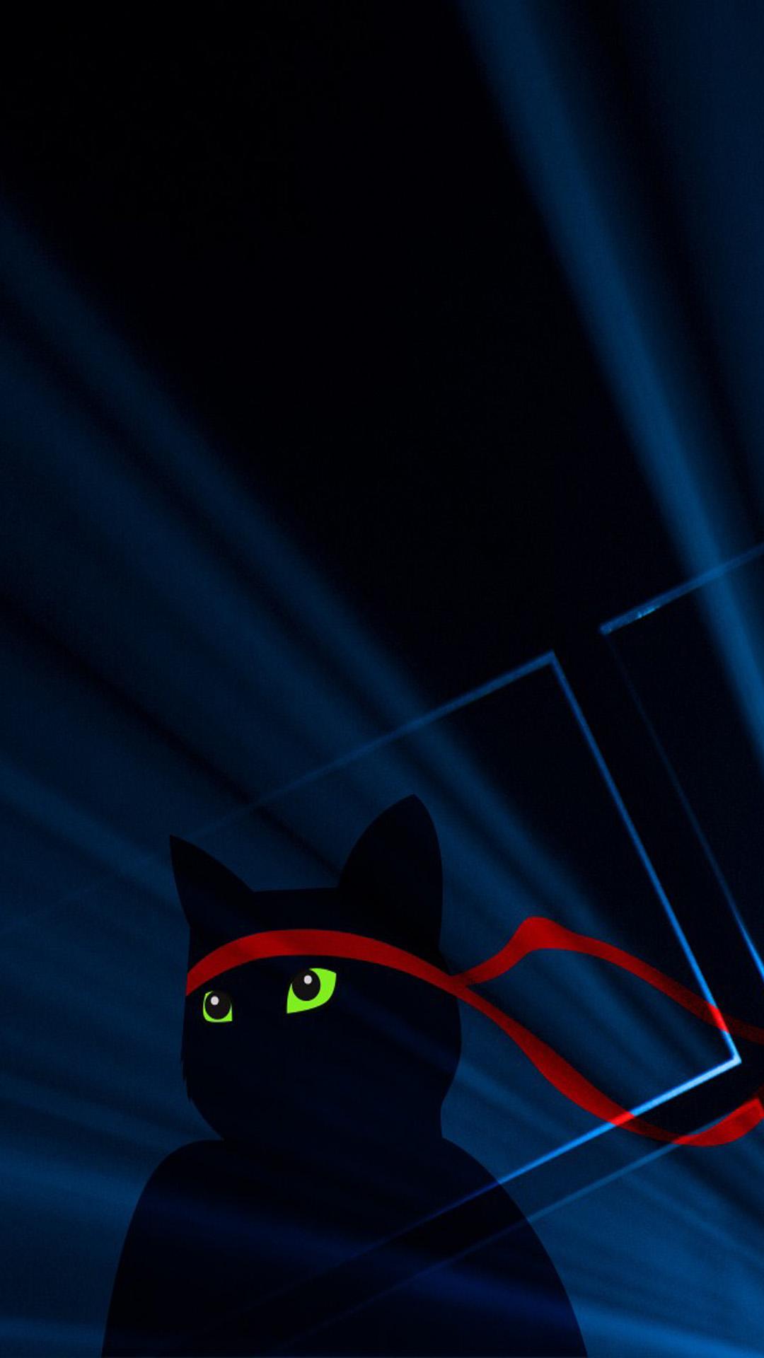 Windows 10 Ninja Cat Dark 4k Ultra Hd Mobile Wallpaper