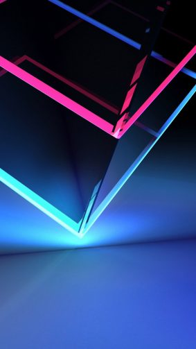 3D Cube Neon Red Blue Light HD Mobile Wallpaper