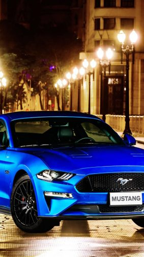 Blue Ford Mustang GT Fastback HD Mobile Wallpaper