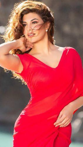 Jacqueline Fernandez Stunning Red Dress In Race 3 HD Mobile Wallpaper