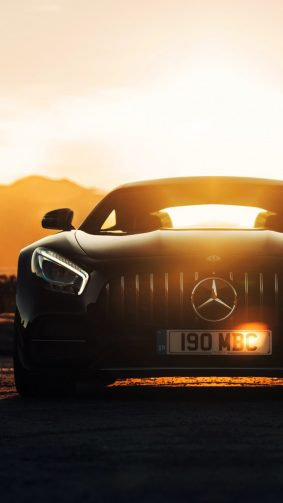 Mercedes AMG GT C Sports Car Sunset HD Mobile Wallpaper