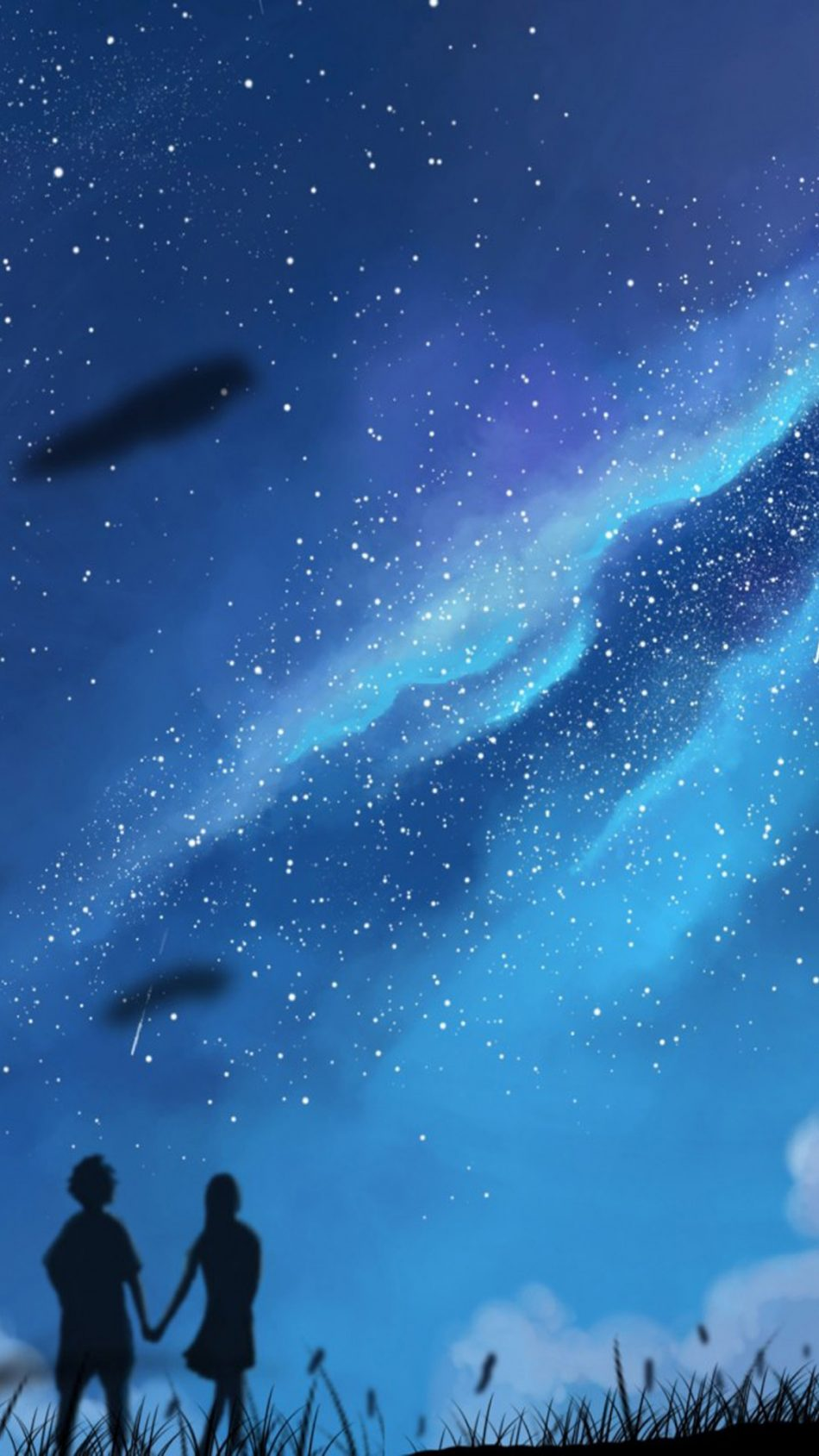 Couple Starry Sky Night Artwork 4K Ultra HD Mobile Wallpaper