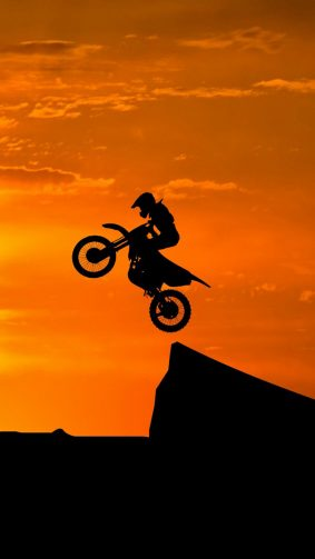 Dirt Bikes Stunts Sunset HD Mobile Wallpaper