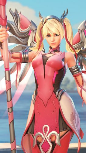 Pink Mercy Overwatch HD Mobile Wallpaper