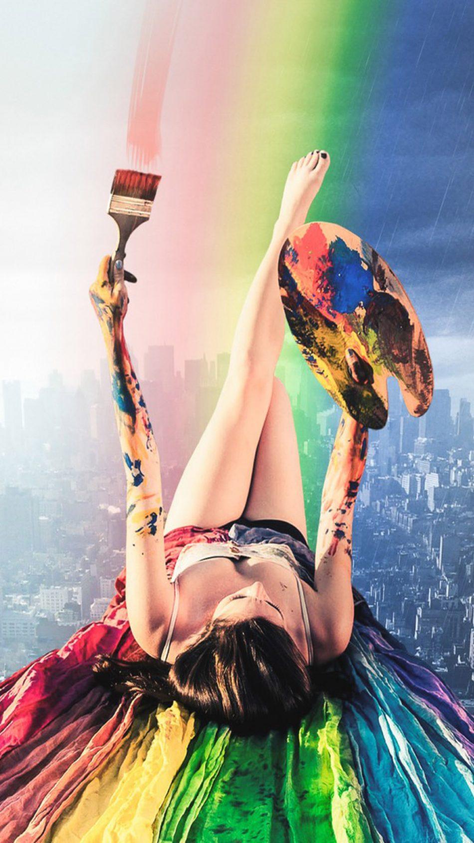 Rainbow Hot Girl Paint Cityscape HD Mobile Wallpaper