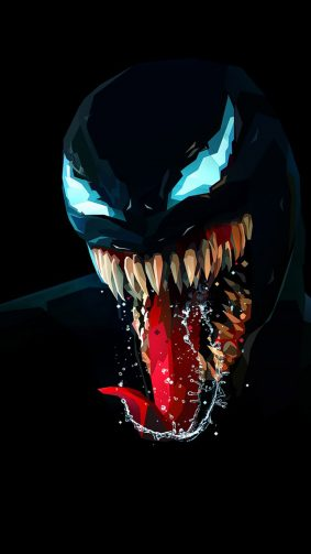 Venom Artwork Minimal Dark Background HD Mobile Wallpaper