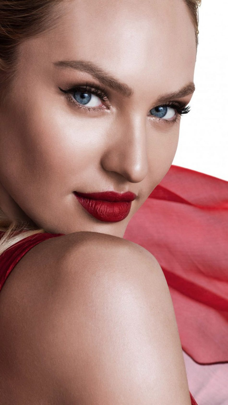 Candice Swanepoel In Beautiful Red Dress HD Mobile Wallpaper