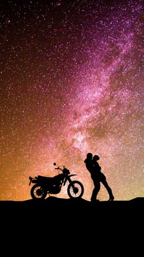 Couple Romantic Kiss Motorcycle HD Mobile Wallpaper