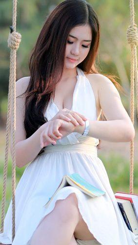 Gorgeous Asian Girl In Beautiful White Dress HD Mobile Wallpaper