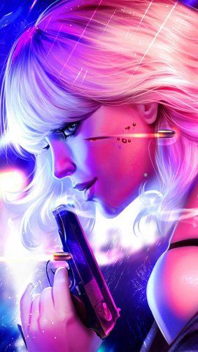 Atomic Blonde Fan Art Neon HD Mobile Wallpaper