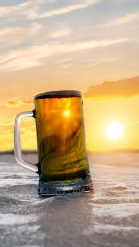 Beer Mug Beach Sunset HD Mobile Wallpaper