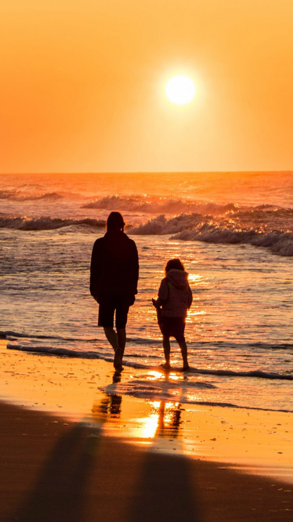 Mom and Daughter Sunset Beach Day Out HD Mobile Wallpaper