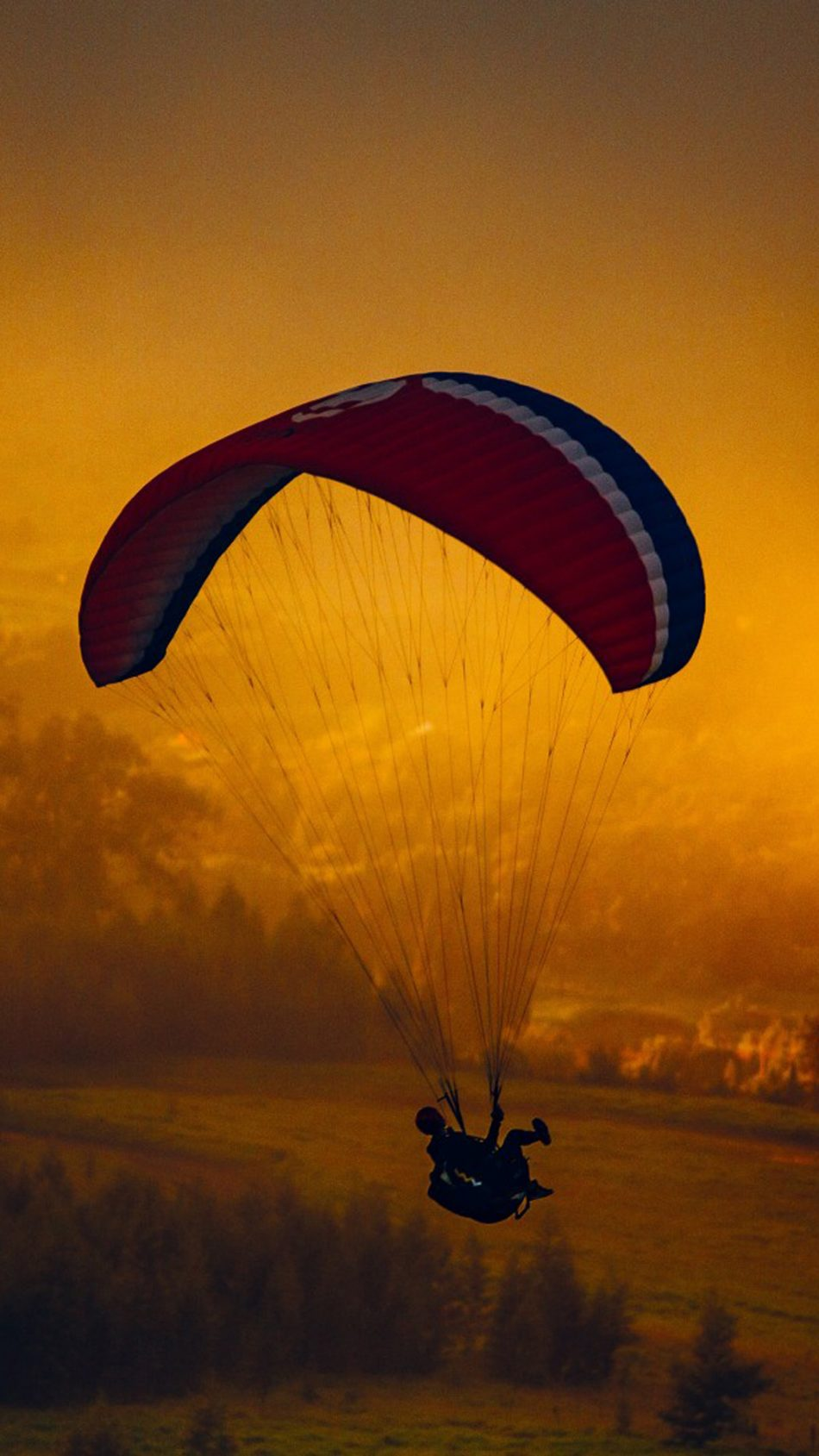 Paragliding Cloudy Forest Sunset HD Mobile Wallpaper