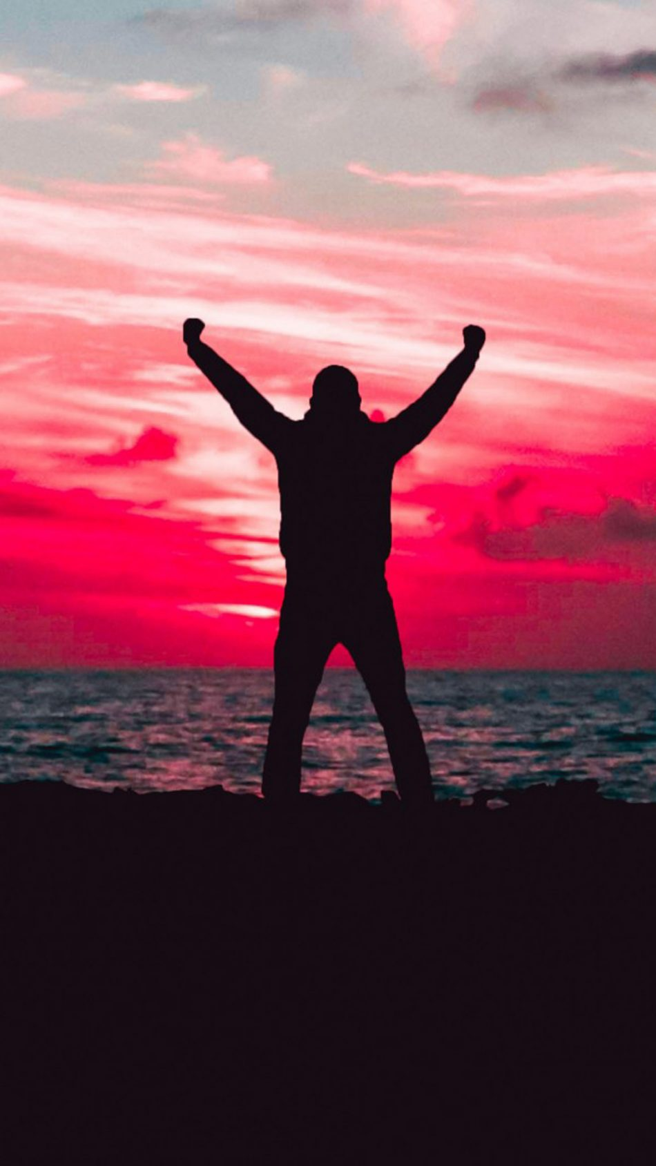 Silhouette Man Sunset Beach HD Mobile Wallpaper