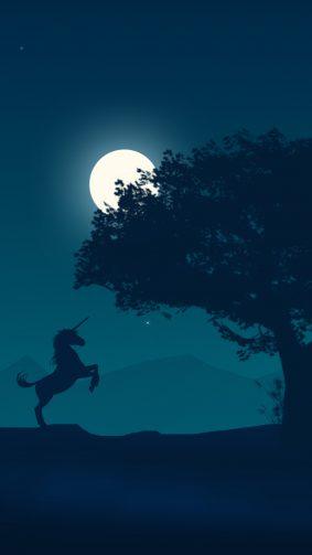 Unicorn Moon Scenery Night HD Mobile Wallpaper