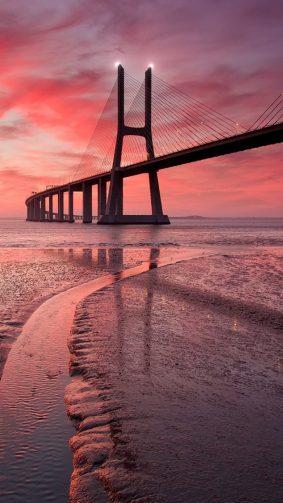 Vasco Da Gama Bridge Sunset HD Mobile Wallpaper