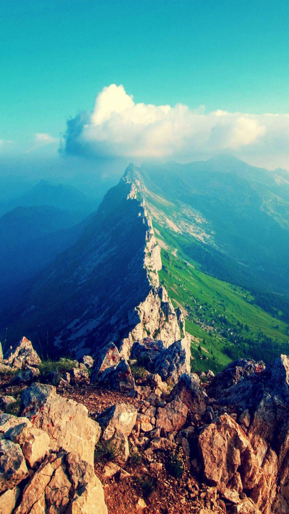 Aerial View Mountain Peak Cloud 4K & Ultra HD Mobile Wallpaper
