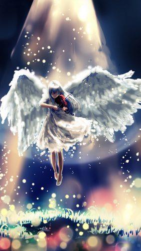 Anime Girl Angel Guitar Heaven 4K & Ultra HD Mobile Wallpaper