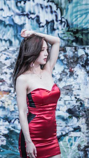 Asain Girl In Hot Red Dress 4K Ultra HD Mobile Wallpaper