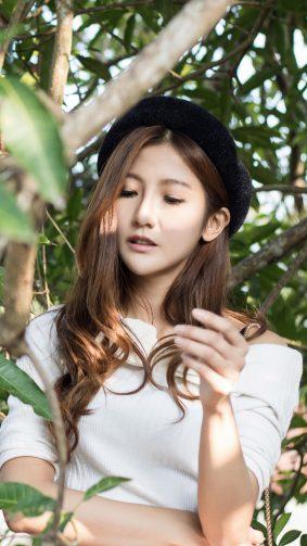 Asian Girl Black Hat Tree 4K Ultra HD Mobile Wallpaper