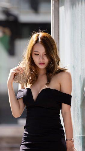 Asian Model Black Dress Photoshoot 4K Ultra HD Mobile Wallpaper
