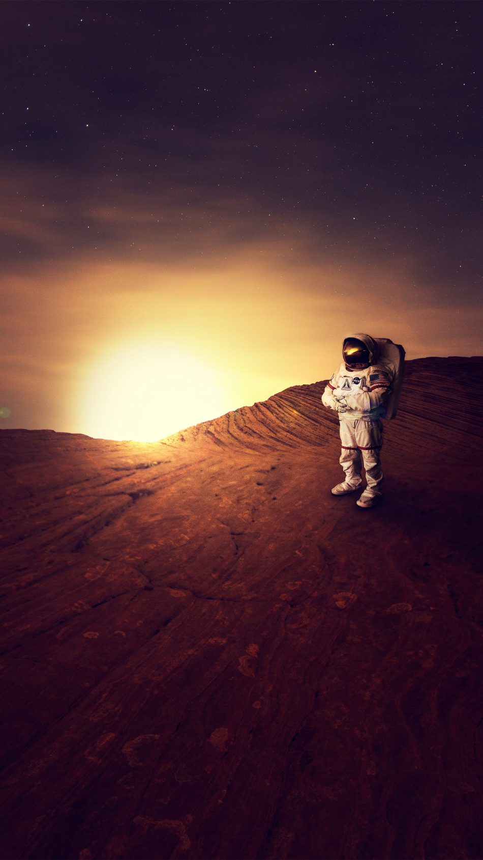 Download astronaut on planet mars sunset free pure 4k - Mars sunset wallpaper ...